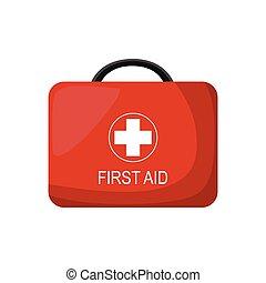 ayuda, abetos, ambulancia, emergencia, caricatura, kit, box., rojo, médico