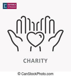 ayuda, care., línea, editable, símbolo, solidaridad, stroke., icon., caridad