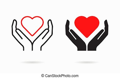 ayuda, caridad, icon., solidaridad, símbolo, care.
