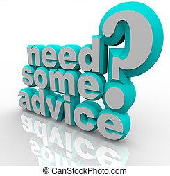 ayuda, consejo, algunos, palabras, necesidad, ayuda, 3d