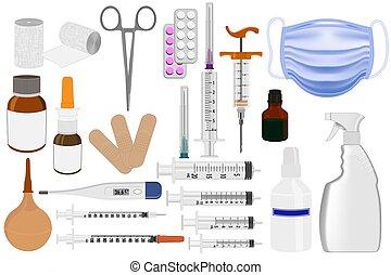 ayuda, emergencia, primero, caja, médico, medicinas, equipo, kit