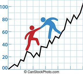 ayuda, empresa / negocio, rentabilidad, gráfico, persona, tinta, rojo
