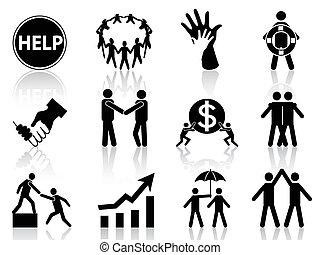 ayuda, iconos del negocio