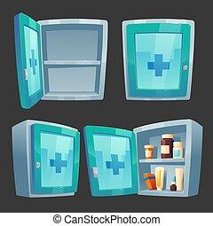 ayuda, kit, medicina, caja, primero, drogas, farmacia