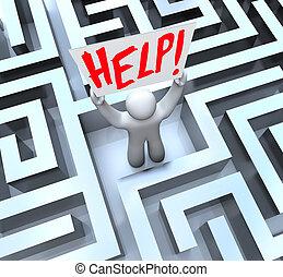 ayuda, laberinto, señal, persona, tenencia, laberinto