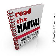 ayuda, leer, consejo, manual, libro, instrucciones