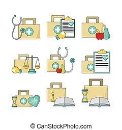 ayuda médica, colorido, equipos, primero, conjunto, diseño, concepto, empresa / negocio, icono