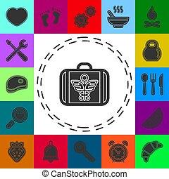 ayuda, médico, caso, caja, emergencia, -, señal, vector, primero, seguro, símbolo, kit