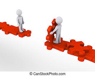 ayuda, ofrecimiento, rompecabezas, persona, otro, trayectoria