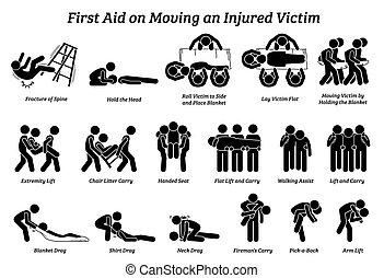ayuda, palo, icons., herido, figuras, técnicas, mudanza, víctima, primero
