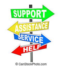 ayuda, servicio, punto, ayuda, solución, flecha, señales, apoyo