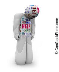 Ayuda - una persona está sola y deprimida necesita cuidado