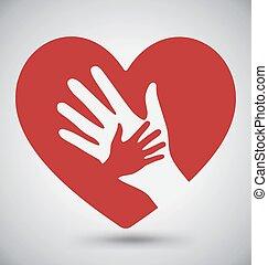 Ayudando a manos en el corazón rojo