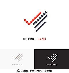 Ayudando al logotipo de la mano