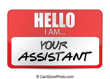 ayudante, etiqueta, nombre, ilustración, su