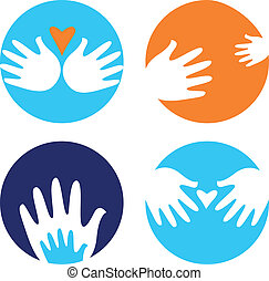 Ayudantes y caritativas iconos aislados en blanco
