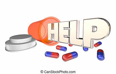 Ayudar a que el frasco de pastillas de asistencia médica sienta mejor ilustración 3D
