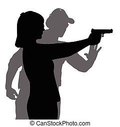 ayudar, mujer, disparo, arma de fuego, mano, gama, instructor, apuntar