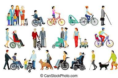 ayudas, grupo, gente, familias, desventajas, ambulante, isolated.eps, cuidado, toma
