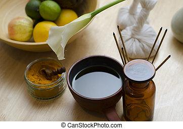 ayurveda, exótico, aceite, especia, encimera, ayurvedic, massage., utilizado, floreza arreglo, herramientas, masajear, cúrcuma