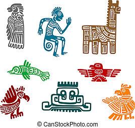 Aztecas y mayas de arte antiguo