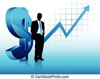 azul, éxito financiero, actuación, tema, hombre de negocios, silueta
