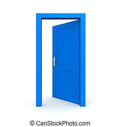 azul, abierto, solo, puerta