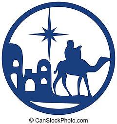 azul, adoración, biblia, silueta, santo, escena, ilustración, fondo., magi, vector, blanco, icono