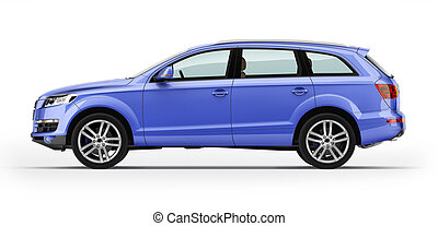 azul, aislado, automóvil, white., suv., lujo