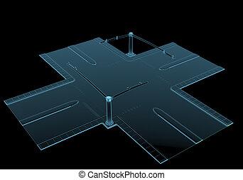 azul, aislado, calle, negro, intersección, transparente, radiografía
