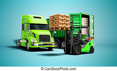 azul, aislado, paleta, descargar, carga, fondo anaranjado, materiales, concepto, sombra, remolque, edificio, camión, render, carretilla elevadora, 3d, verde, moderno