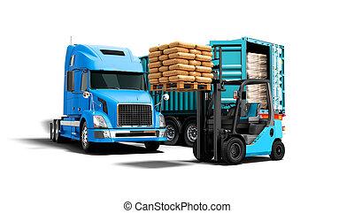 azul, aislado, paleta, descargar, carga, fondo anaranjado, materiales, concepto, sombra, remolque, edificio, camión, render, blanco, 3d, carretilla elevadora, moderno