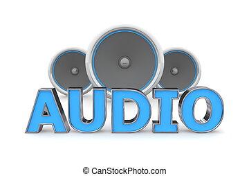 azul, altavoces, audio, -