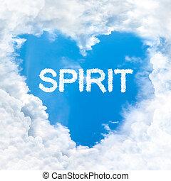 azul, amor, dentro, cielo, solamente, palabra, espíritu, nube