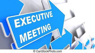 azul, arrow., ejecutivo, reunión