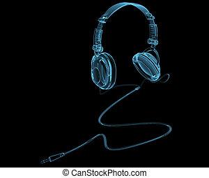 azul, auriculares, aislado, negro, transparente, radiografía