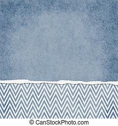azul, backgr, cuadrado, grunge, rasgado, zigzag, galón, textured, blanco