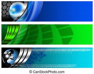 azul, bandera, tecnológico, tres