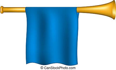 azul, bandera, trompeta