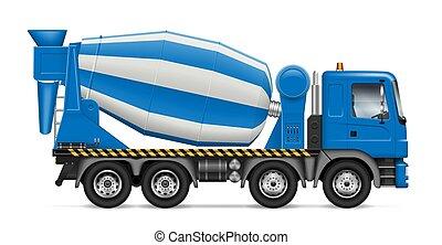 azul, batidora, concreto, vector, camión, ilustración