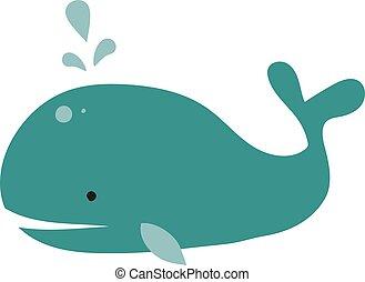 azul, blanco, grande, fondo., vector, ballena, ilustración