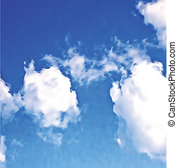 azul, blanco, vector, nubes, sky.