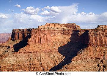 azul, buttes, nubes, canyonlands, hinchado, cielo, cañón, majestuoso, schafer