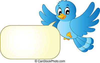 azul, cómicos, burbuja, pájaro