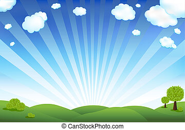 azul, campo, cielo verde