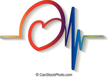 azul, cardiograma, logotipo, vector, rojo