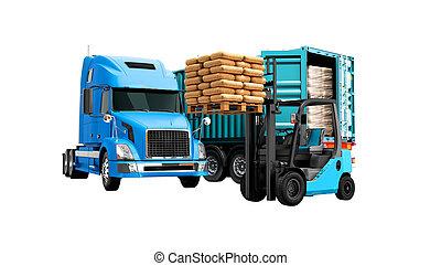 azul, carga, sombra, render, aislado, remolque, edificio, paleta, descargar, naranja, no, fondo blanco, materiales, concepto, camión, carretilla elevadora, 3d, moderno