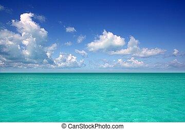 azul, caribe, horizonte, cielo, vacaciones, mar, día