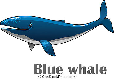 azul, caricatura, ballena