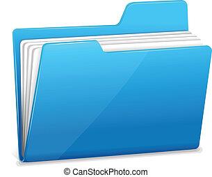 azul, carpeta, documentos, archivo